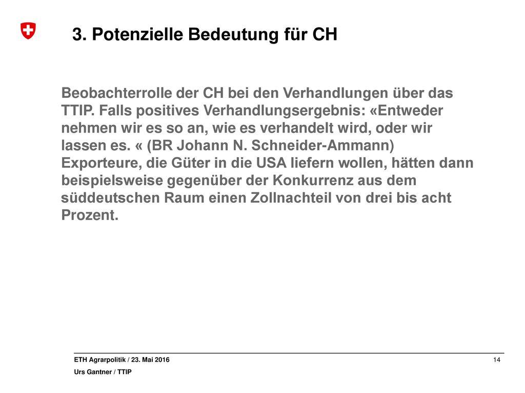 3. Potenzielle Bedeutung für CH