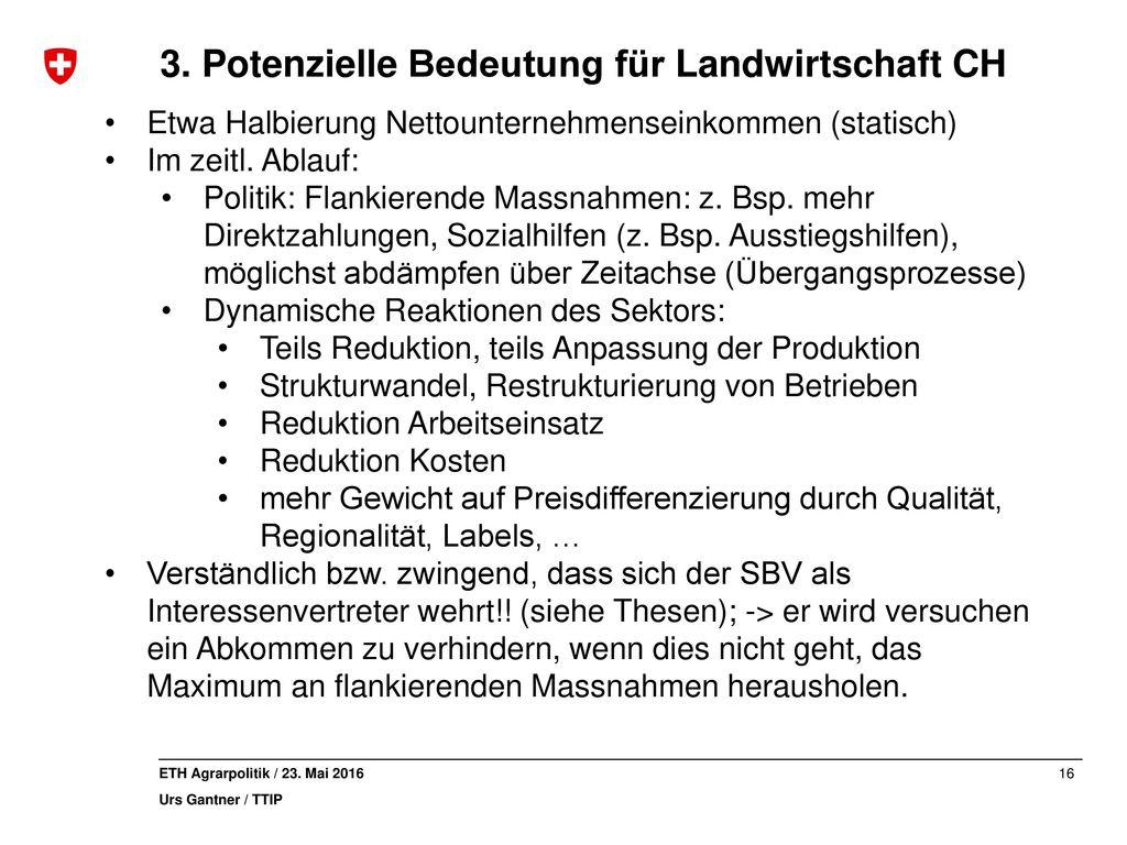 3. Potenzielle Bedeutung für Landwirtschaft CH