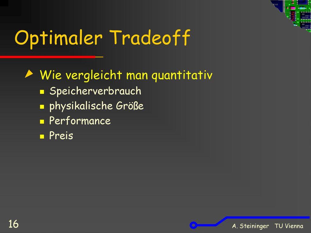 Optimaler Tradeoff Wie vergleicht man quantitativ Speicherverbrauch