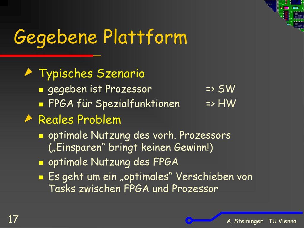 Gegebene Plattform Typisches Szenario Reales Problem