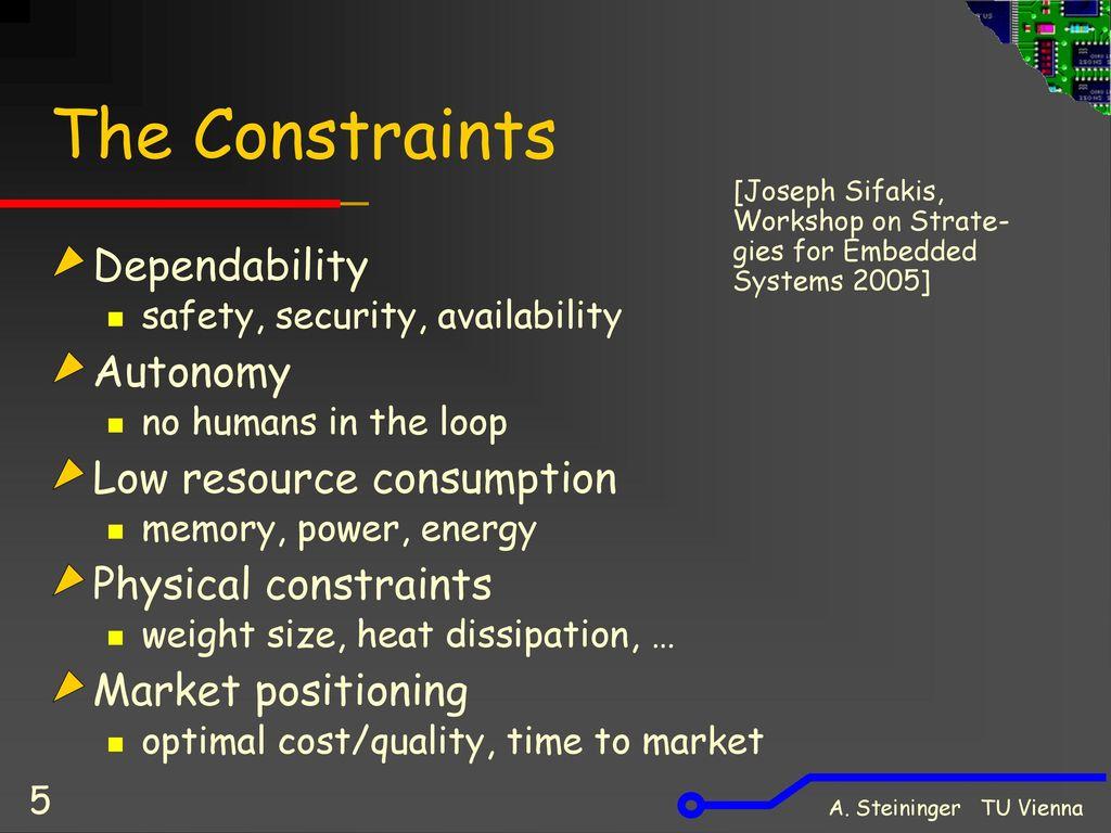 The Constraints Dependability Autonomy Low resource consumption
