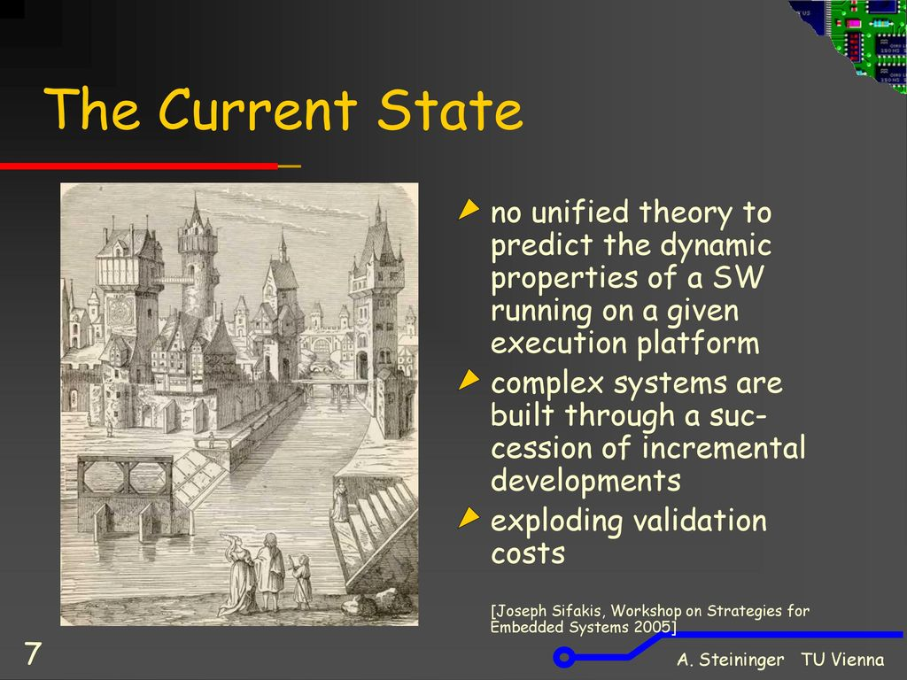 The Current State no unified theory to predict the dynamic properties of a SW running on a given execution platform.