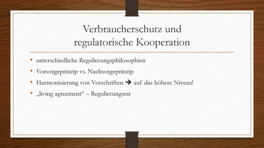 Verbraucherschutz und regulatorische Kooperation