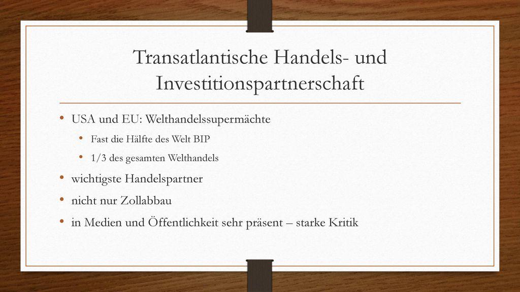 Transatlantische Handels- und Investitionspartnerschaft