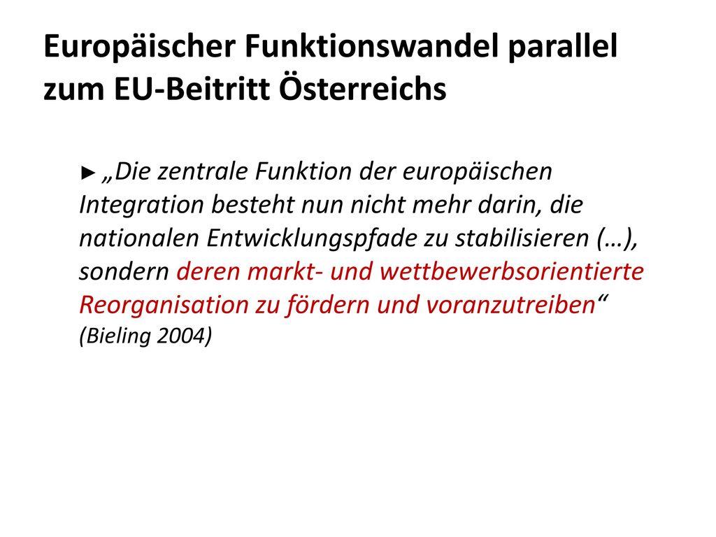 Europäischer Funktionswandel parallel zum EU-Beitritt Österreichs