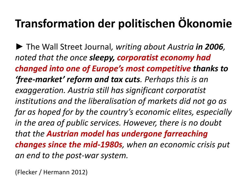Transformation der politischen Ökonomie