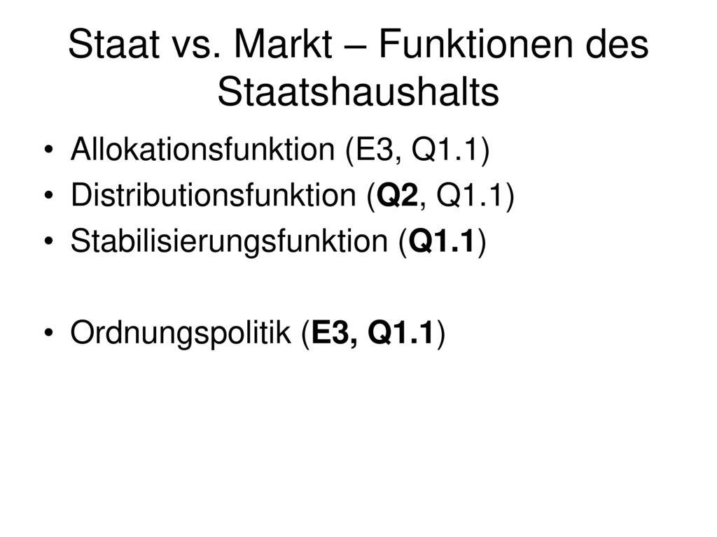 Staat vs. Markt – Funktionen des Staatshaushalts