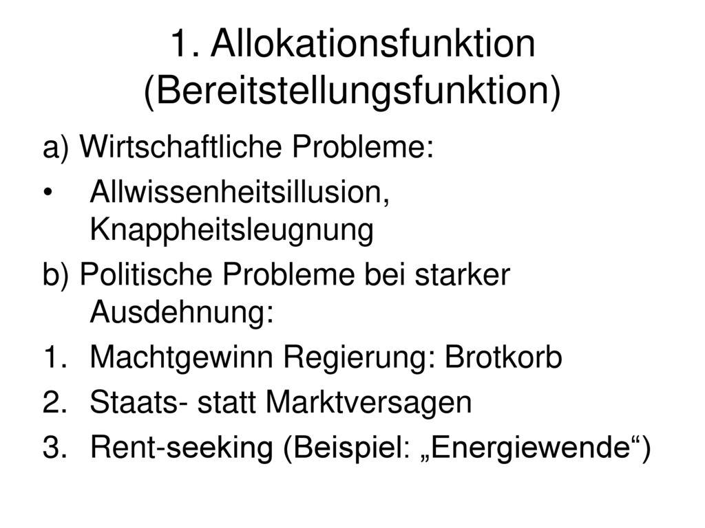 1. Allokationsfunktion (Bereitstellungsfunktion)