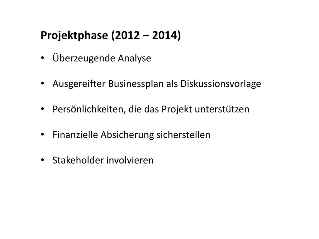 Projektphase (2012 – 2014) Überzeugende Analyse
