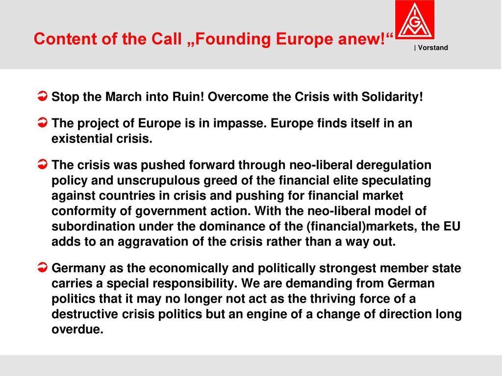 """Content of the Call """"Founding Europe anew!"""