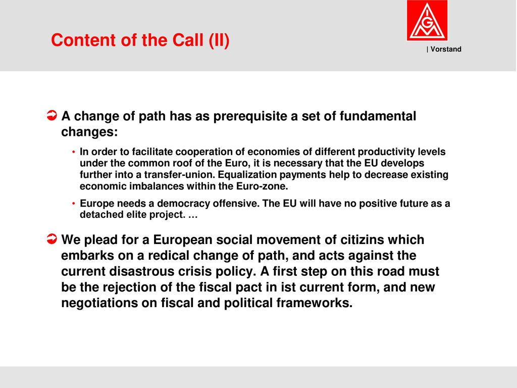 Content of the Call (II)
