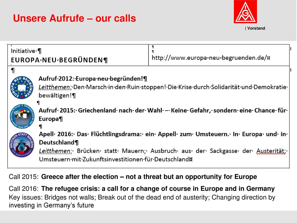Unsere Aufrufe – our calls
