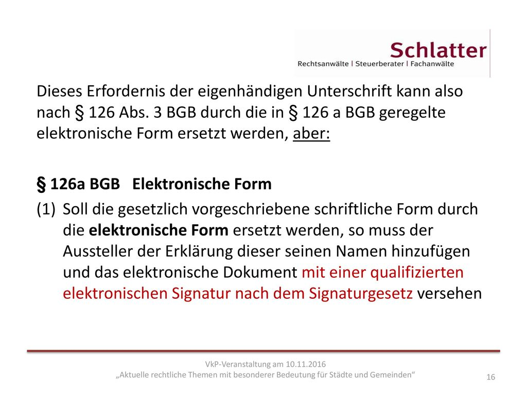 § 126a BGB Elektronische Form