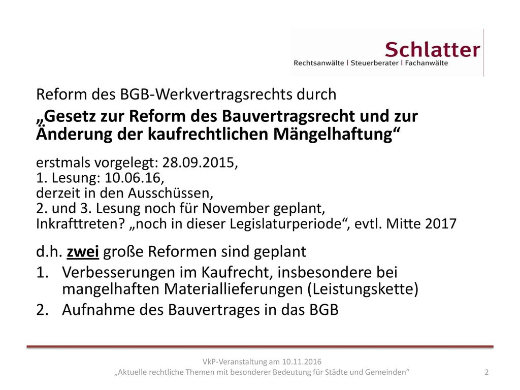 Reform des BGB-Werkvertragsrechts durch