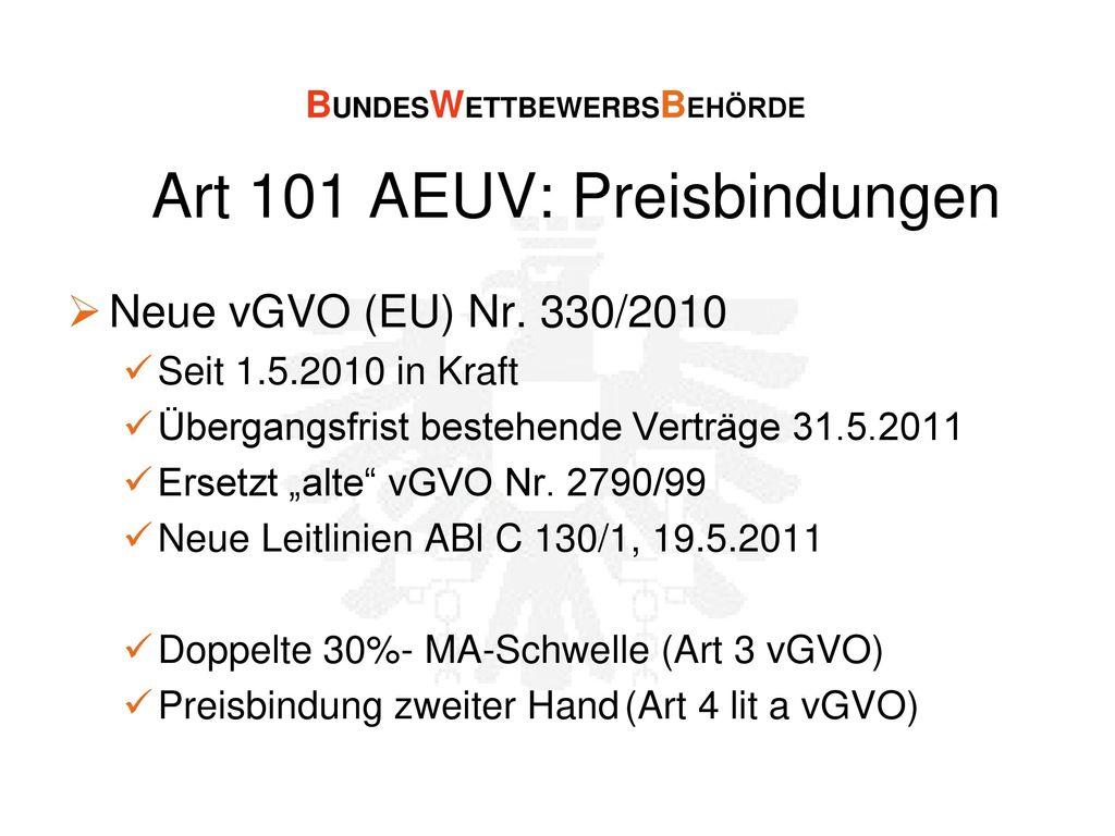 Art 101 AEUV: Preisbindungen