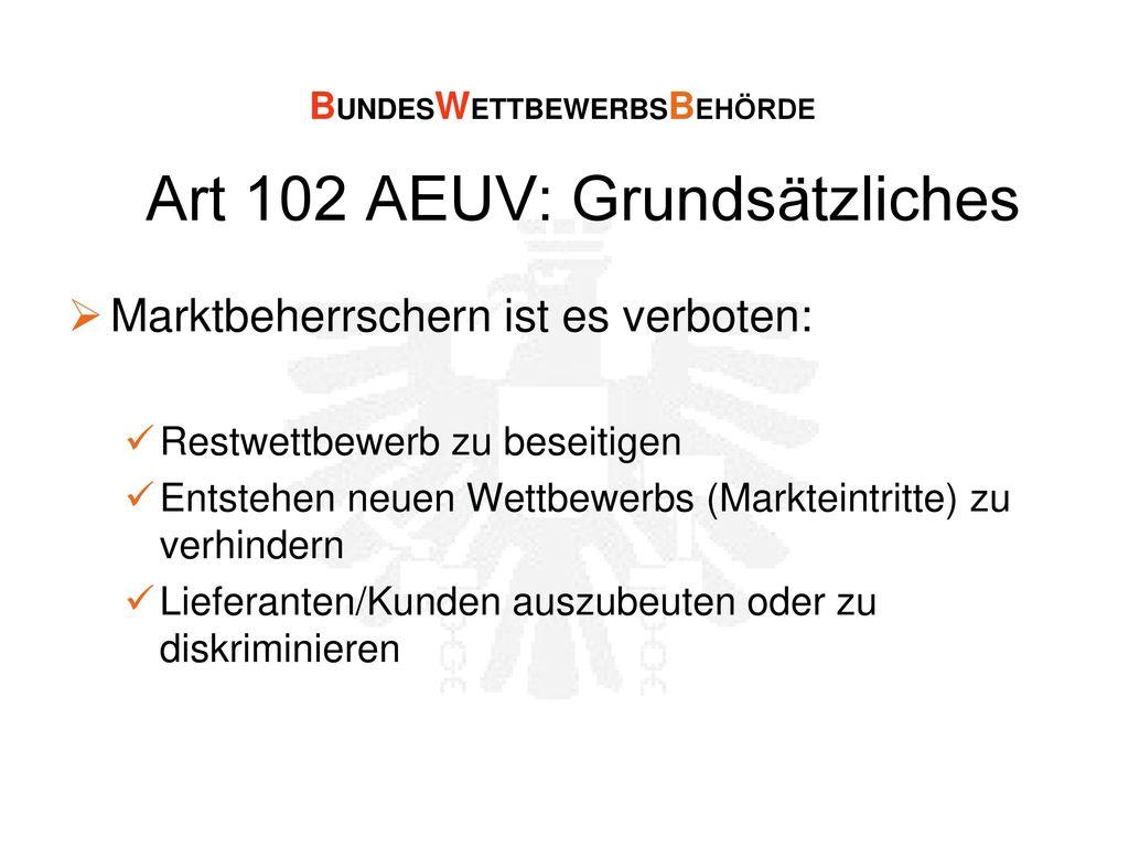 Art 102 AEUV: Grundsätzliches