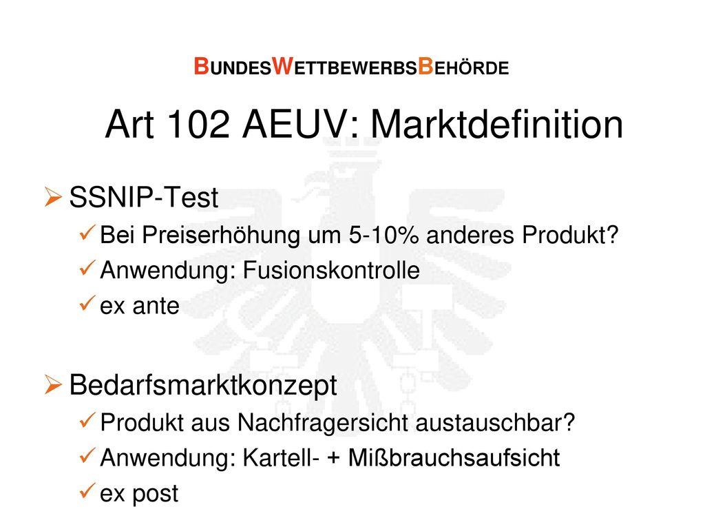 Art 102 AEUV: Marktdefinition