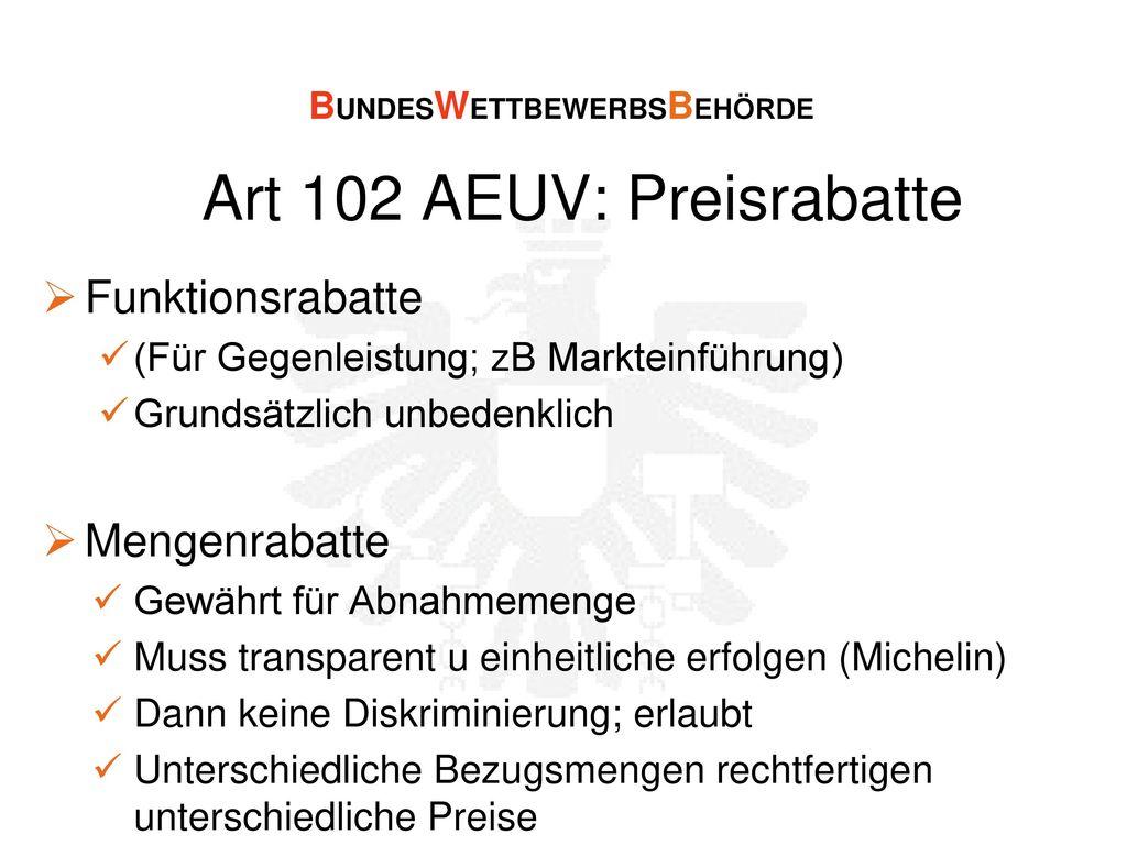Art 102 AEUV: Preisrabatte