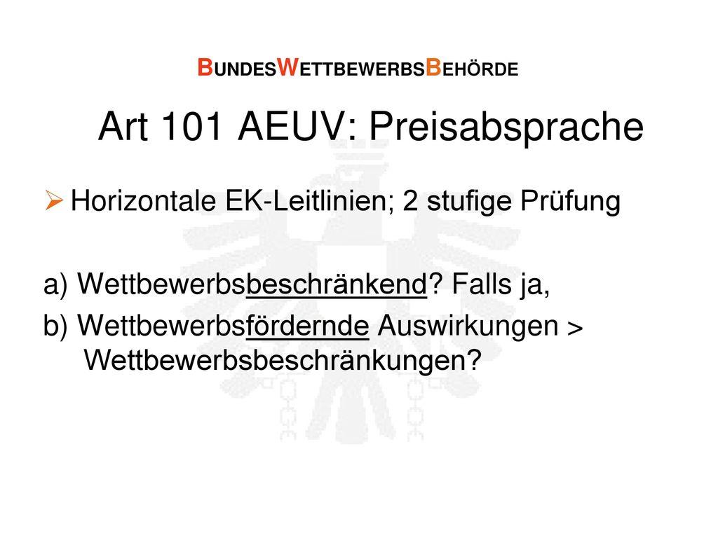 Art 101 AEUV: Preisabsprache