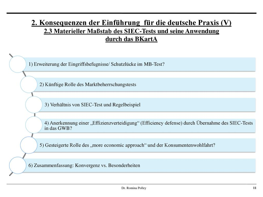 2. Konsequenzen der Einführung für die deutsche Praxis (V) 2