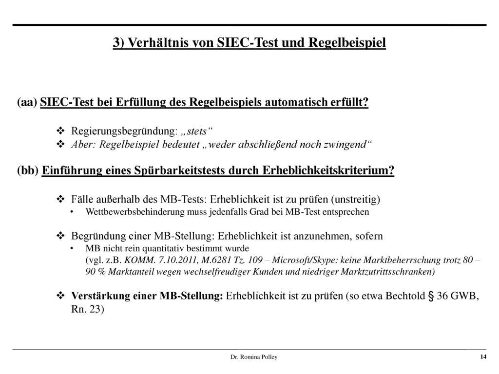 3) Verhältnis von SIEC-Test und Regelbeispiel