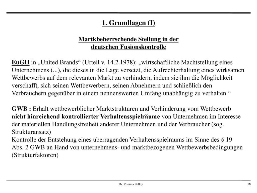 Martkbeherrschende Stellung in der deutschen Fusionskontrolle