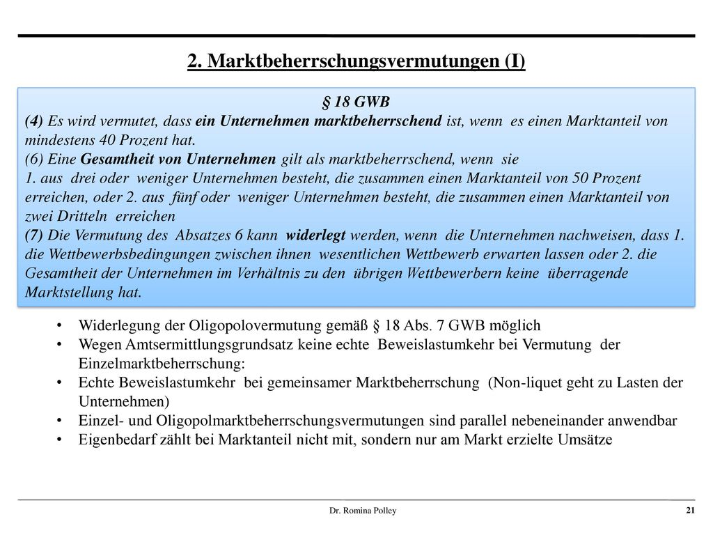 2. Marktbeherrschungsvermutungen (I)