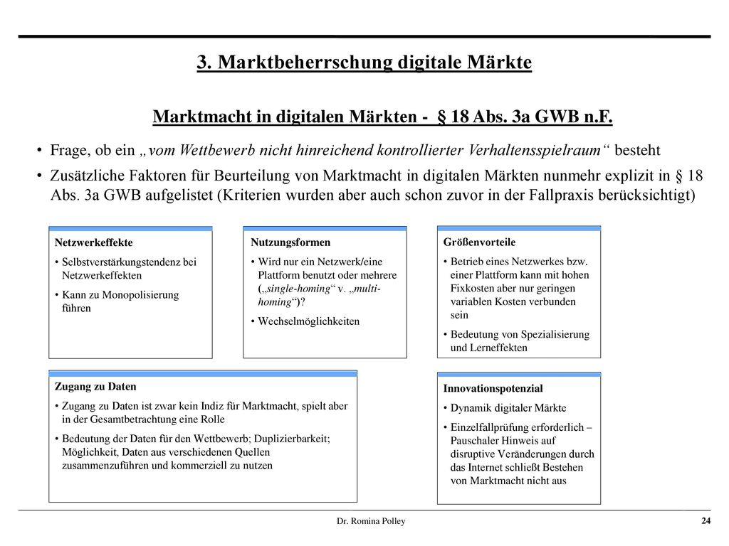 3. Marktbeherrschung digitale Märkte