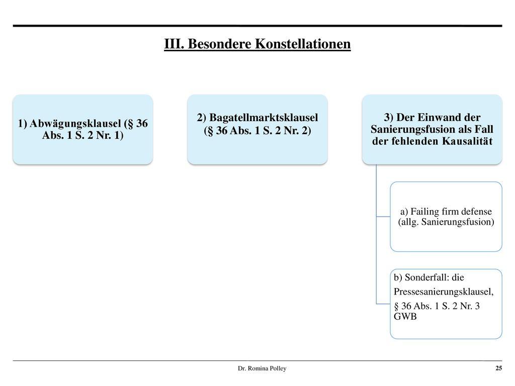 III. Besondere Konstellationen