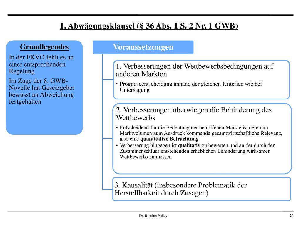 1. Abwägungsklausel (§ 36 Abs. 1 S. 2 Nr. 1 GWB)