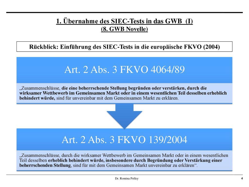1. Übernahme des SIEC-Tests in das GWB (I) (8. GWB Novelle)