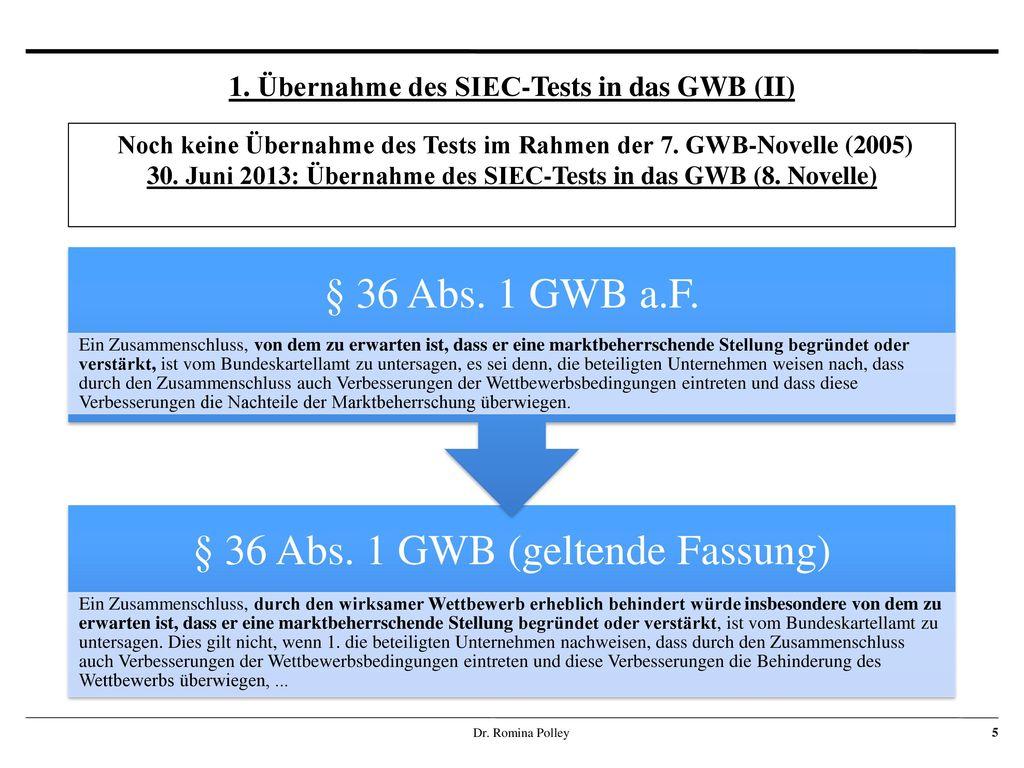 1. Übernahme des SIEC-Tests in das GWB (II)