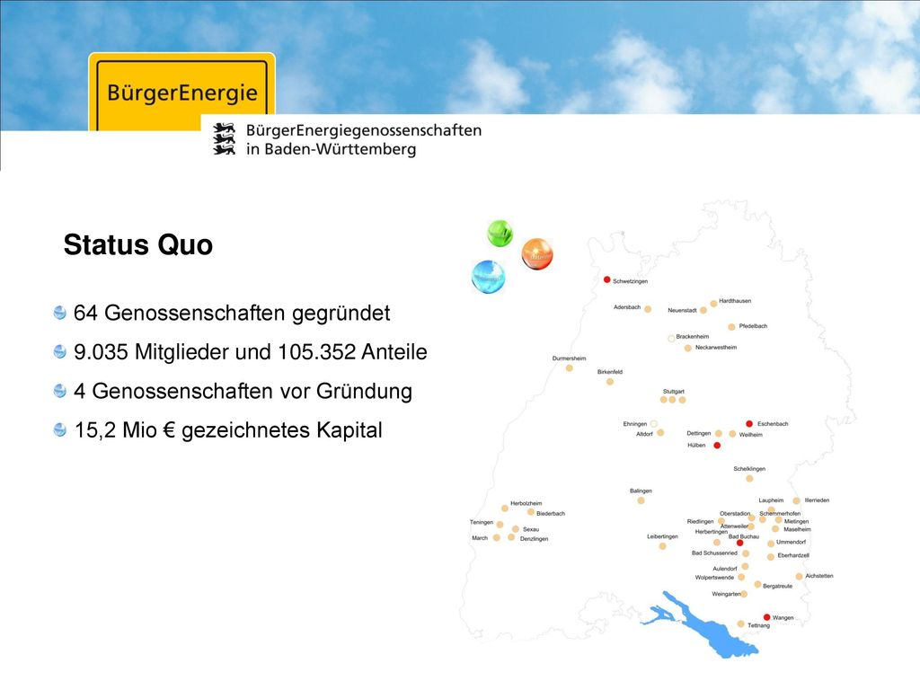 Status Quo 64 Genossenschaften gegründet