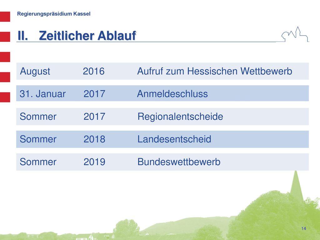 Zeitlicher Ablauf August 2016 Aufruf zum Hessischen Wettbewerb