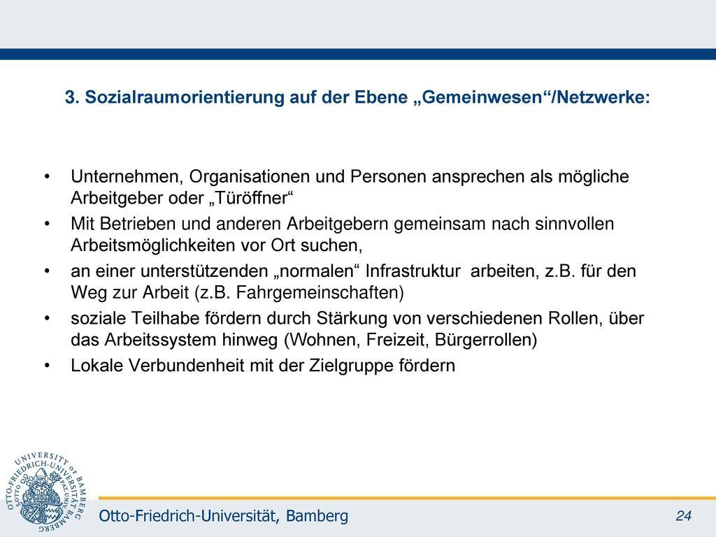 """3. Sozialraumorientierung auf der Ebene """"Gemeinwesen /Netzwerke:"""
