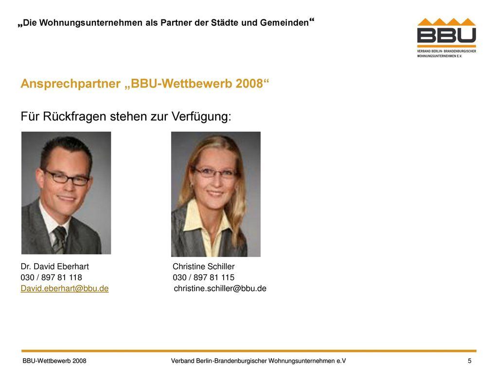 """Ansprechpartner """"BBU-Wettbewerb 2008"""