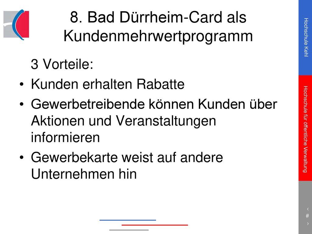 8. Bad Dürrheim-Card als Kundenmehrwertprogramm