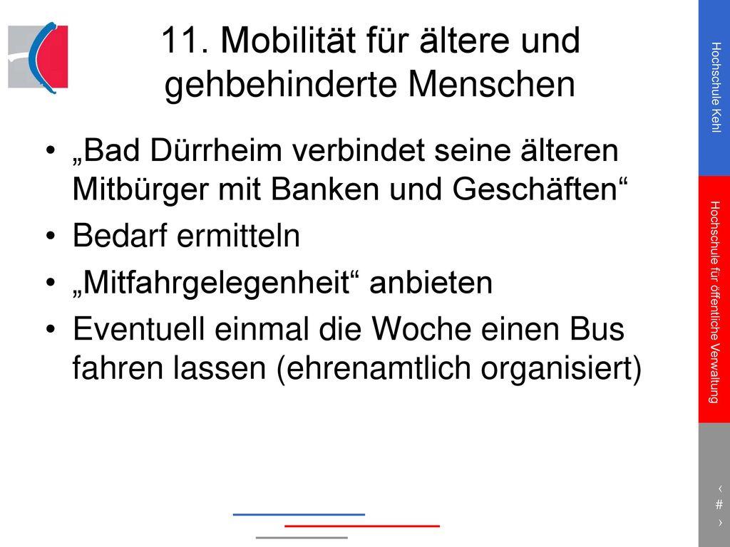 11. Mobilität für ältere und gehbehinderte Menschen
