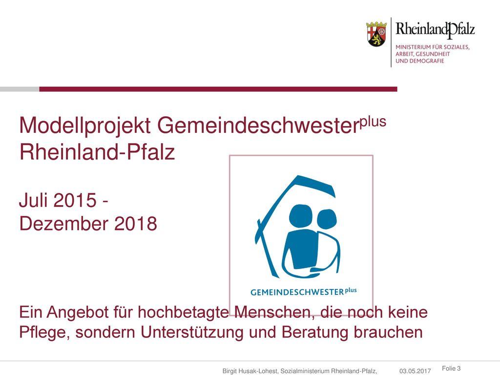 Modellprojekt Gemeindeschwesterplus Rheinland-Pfalz