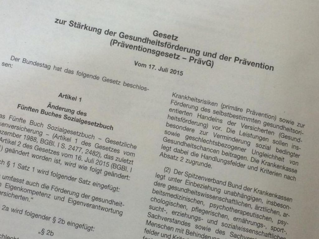 Agenda Das Präventionsgesetz (PrävG) vom 18.6.2015
