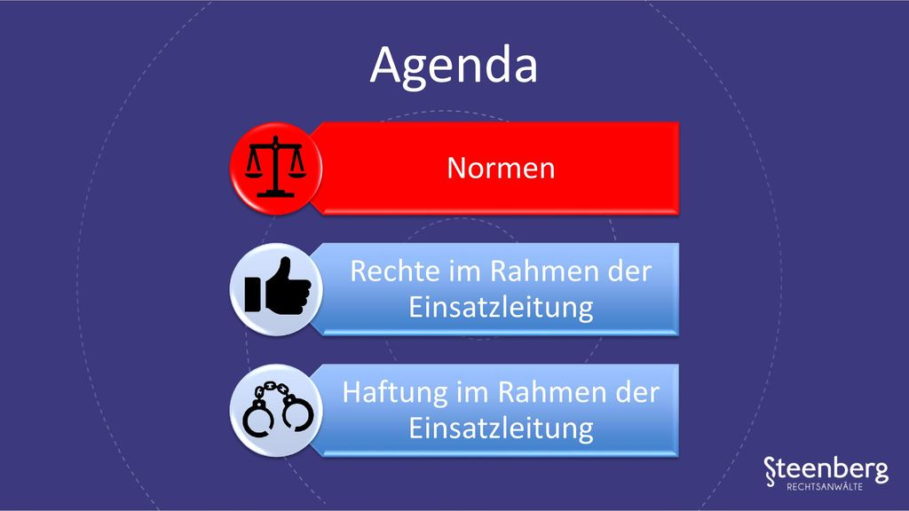 Agenda Normen Rechte im Rahmen der Einsatzleitung