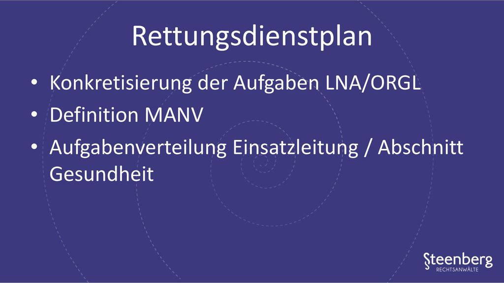 Rettungsdienstplan Konkretisierung der Aufgaben LNA/ORGL