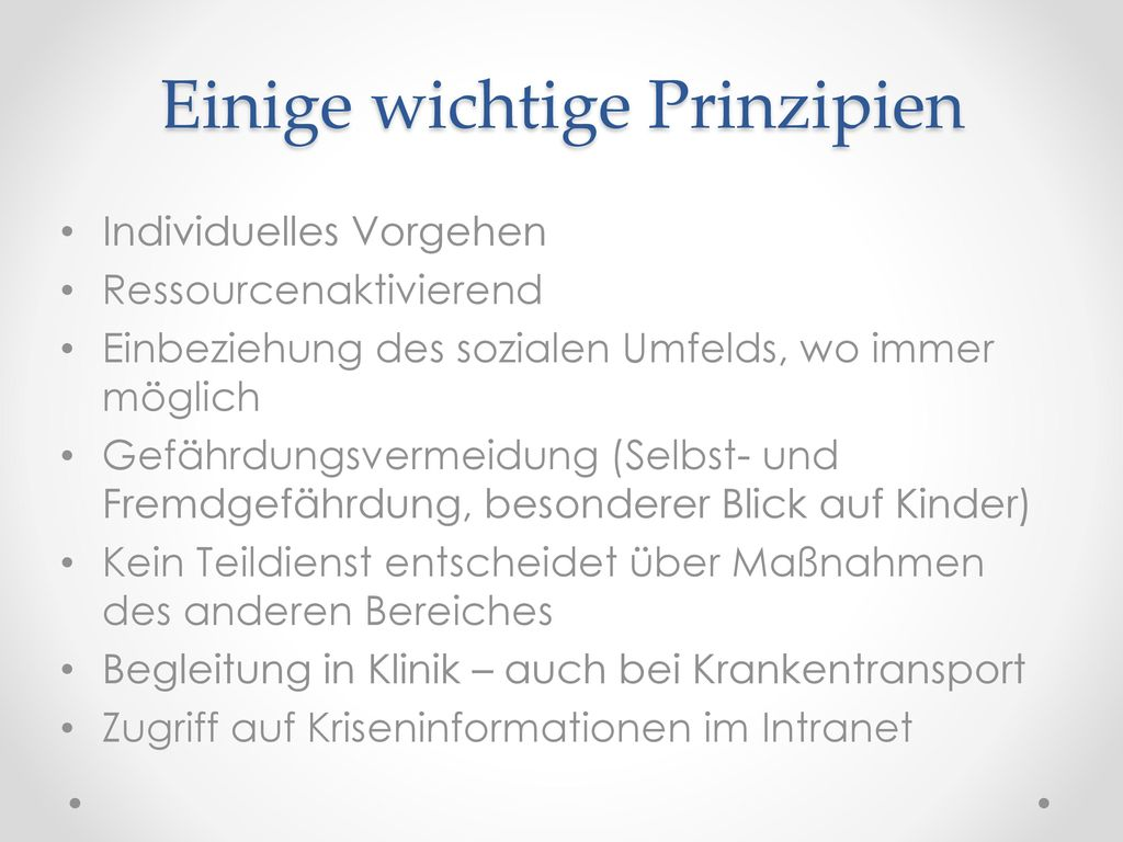 Einige wichtige Prinzipien