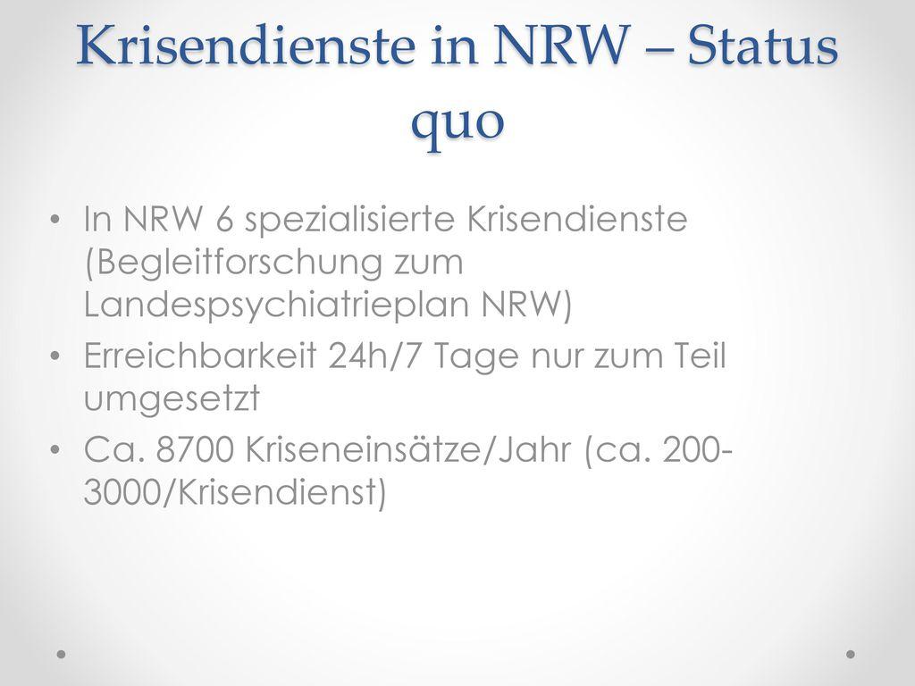 Krisendienste in NRW – Status quo
