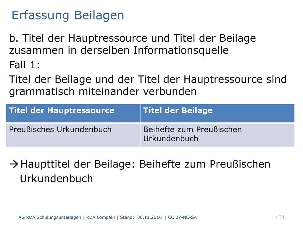 Erfassung Beilagen b. Titel der Hauptressource und Titel der Beilage zusammen in derselben Informationsquelle.