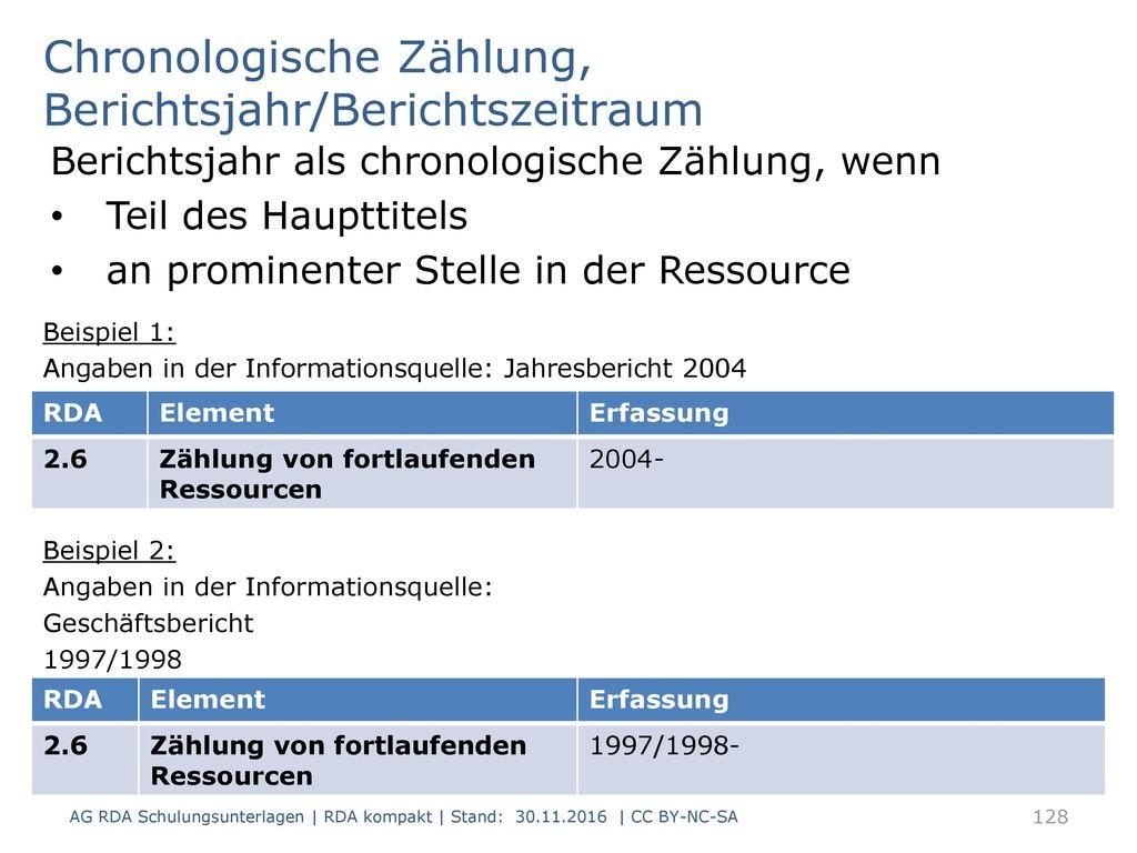 Chronologische Zählung, Berichtsjahr/Berichtszeitraum