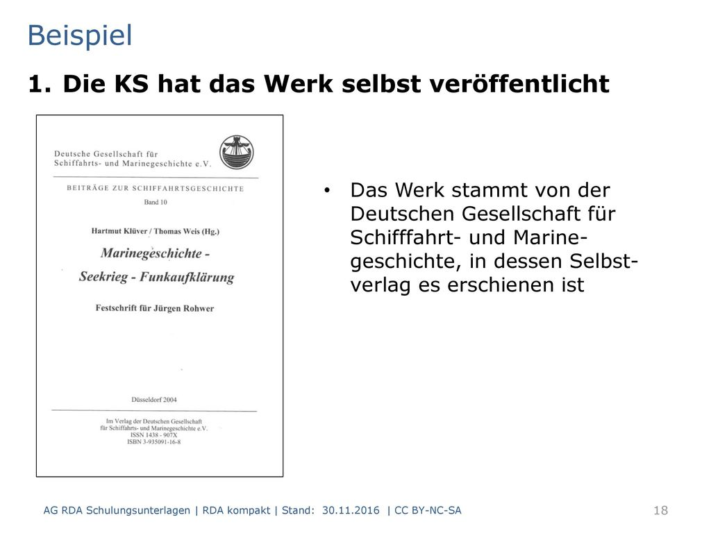 Beispiel Die KS hat das Werk selbst veröffentlicht