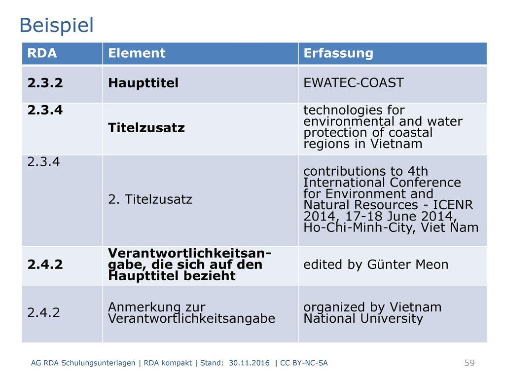 Beispiel RDA Element Erfassung 2.3.2 Haupttitel EWATEC‐COAST 2.3.4