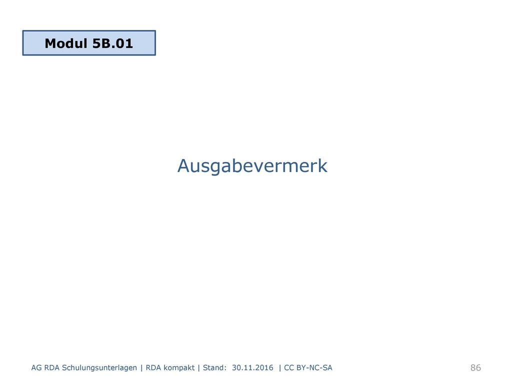 Ausgabevermerk Modul 5B.01