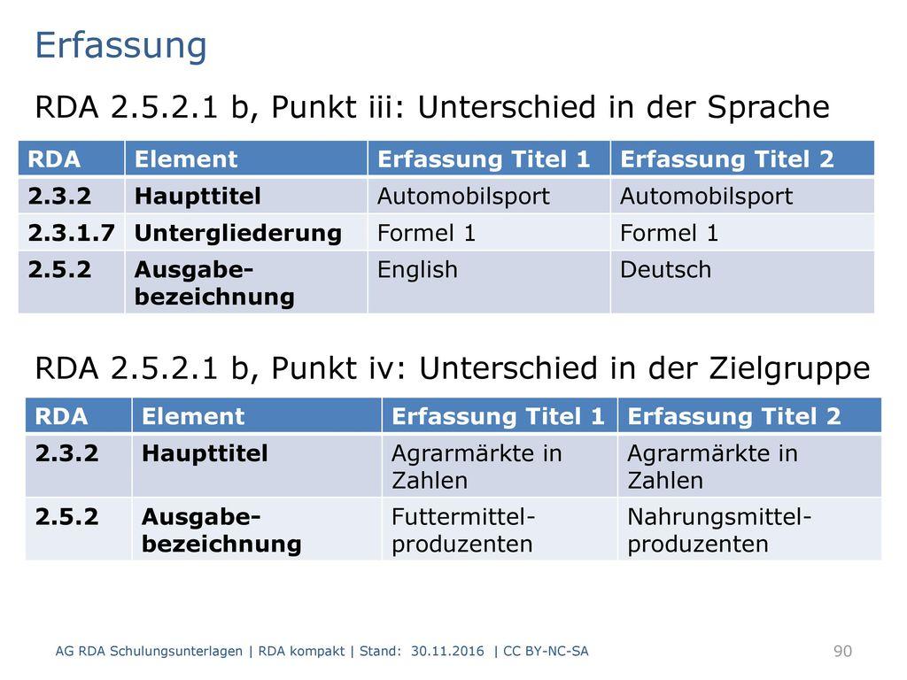 Erfassung RDA 2.5.2.1 b, Punkt iii: Unterschied in der Sprache